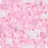 Картина розового конспекта птицы безшовная Стоковое Изображение RF