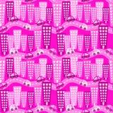 Картина розовых автомобилей города безшовная иллюстрация штока