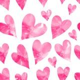 Картина розовых сердец акварели безшовная Стоковое Изображение RF