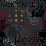 Картина рок-музыки безшовная с черепом, тапками и электрическим gu Стоковые Фотографии RF