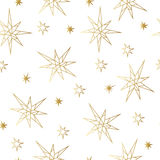 Картина роскошного золота Нового Года и рождества безшовная с звездами Поздравительная открытка, приглашение, рогулька Стоковые Фото