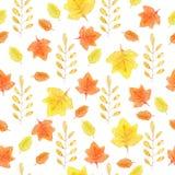 Картина руки акварели вычерченная безшовная с желтыми и оранжевыми листьями осени иллюстрация штока