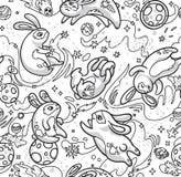 Картина руки контура вычерченная безшовная с милыми кроликами летая в космос r иллюстрация вектора