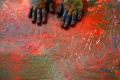 картина рук цветов детей художника multi стоковые изображения