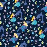 Картина русалок и рыб Стоковое Изображение RF