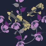 Картина рыб и цветка безшовная на винтажной предпосылке Стоковое фото RF