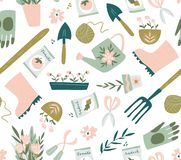 Картина садового инструмента безшовная Иллюстрация вектора садовничая элементов садовничать счастливый иллюстрация штока