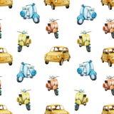Картина самоката и автомобиля акварели ретро Стоковое фото RF