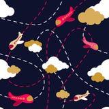 картина самолета безшовная Воздушные судн в облаках Стиль шаржей Красочный самолет на темной предпосылке Картина самолета мальчик иллюстрация штока