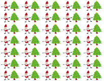 Картина Санта Клауса и рождественских елок безшовная Стоковое Изображение