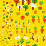 Картина сбора сада осени безшовная Милый дизайн, иллюстрация вектора Стоковые Фотографии RF