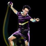 Картина света скорости молодого человека игрока гандбола изолированная стоковые фото