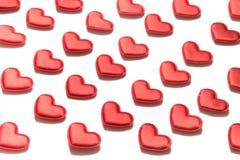 Картина сделанная красных сердец на белой предпосылке Сердце в равновеликом стиле Валентайн карточки s Стоковая Фотография RF
