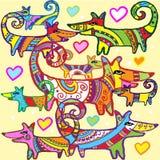 Картина сделанных по образцу собак и красочных сердец Стоковое Фото