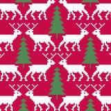 Картина северного оленя и деревьев безшовная иллюстрация вектора