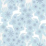 Картина северных оленей и снежинок безшовная иллюстрация штока