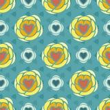 Картина сердец флористическая абстрактная безшовная Стоковые Изображения
