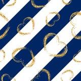 Картина сердца золота безшовная Бело-голубые геометрические нашивки, золотые confetti-сердца grunge Символ влюбленности, дня вале иллюстрация штока