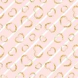 Картина сердца золота безшовная Бело-розовые геометрические нашивки, золотые confetti-сердца grunge Символ влюбленности, дня вале бесплатная иллюстрация