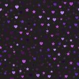 Картина сердца и звезды с пятнами вектор предпосылки безшовный Стоковое фото RF