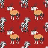 Картина сернобыка и зебры безшовная Стоковое Фото