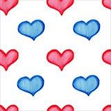Картина сердец акварели безшовная Стоковое Изображение