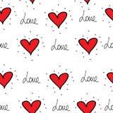 Картина сердец Ткань печати Сердце Стоковое Изображение