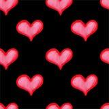 Картина сердца акварели безшовная Стоковое Изображение