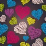 картина сердца безшовная вычерченные сердца руки иллюстрация штока