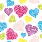 картина сердца безшовная Нарисованные рукой сердца вектора иллюстрация штока