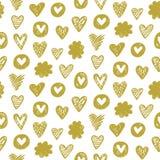 Картина сердца вектора в золотом цвете Стоковые Изображения