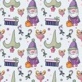 Картина симпатичного шаржа безшовная с символами рождества Стоковое Фото