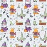 Картина симпатичного шаржа безшовная с simbols рождества Стоковые Изображения RF