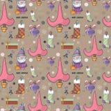 Картина симпатичного шаржа безшовная с simbols рождества стоковое изображение rf