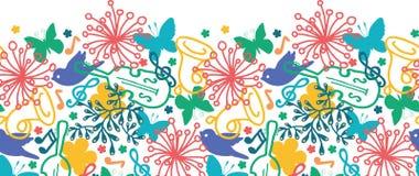 Картина симфонизма музыки весны горизонтальная безшовная Стоковая Фотография RF