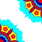 Картина силуэта 5 орнаментальная цветков углов Стоковая Фотография