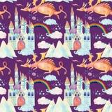 Картина сказки акварели безшовная с милым драконом, волшебным замком, горами и феей заволакивает Стоковая Фотография