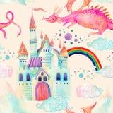 Картина сказки акварели безшовная с милым драконом, волшебным замком, горами и феей заволакивает Стоковое Фото
