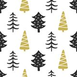 Картина скандинавских лесных деревьев нордическая безшовная Стоковые Фото