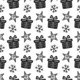 Картина скандинавского рождества нордическая безшовная с декоративными элементами doodle Стоковое Фото
