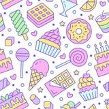 Картина сладкой еды безшовная с плоской линией значками Иллюстрации вектора печенья - леденец на палочке, шоколадный батончик, mi бесплатная иллюстрация