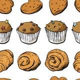 Картина сладостной хлебопекарни безшовная в векторе EPS8 Стоковое Изображение RF