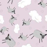 Картина сладостных мечт безшовная с милыми овцами иллюстрация штока