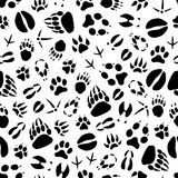 Картина следов ноги животного или птицы вектора безшовная Стоковые Изображения