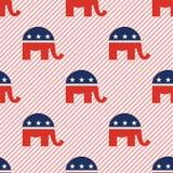 Картина слонов безшовная на красных нашивках Стоковое Изображение RF