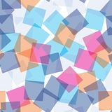 Картина случайных прозрачных квадратов безшовная абстрактная предпосылка Квадраты перекрытые на одине другого геометрическо Ткань иллюстрация вектора