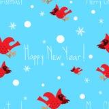 Картина смешного вектора рождества безшовная яркая с кардиналами Стоковые Фотографии RF