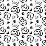 Картина смешной собаки безшовная в стиле плана щетки Стоковое Изображение RF