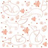 Картина смешной счастливой лисы шаржа безшовная Стоковая Фотография