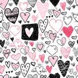 Картина смешных значков сердец doodle безшовная Валентинка нарисованная рукой Стоковые Фотографии RF